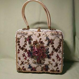 Handbags - Vintage Straw Bag Beaded Tapestry